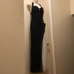 Black and white halter neck formal dress